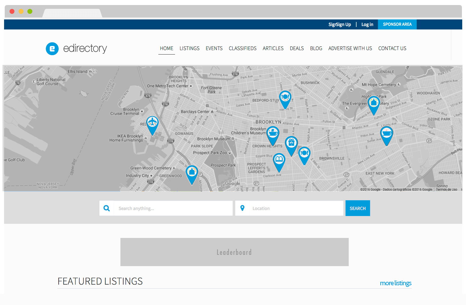 eDirectory Google Maps Placemarks