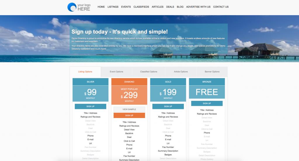directory website advertising